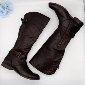 FRYE RIDING KNEE BOOTS DARK BROWN COLOR